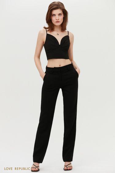 Черные брюки классического кроя с защипами 1152225725