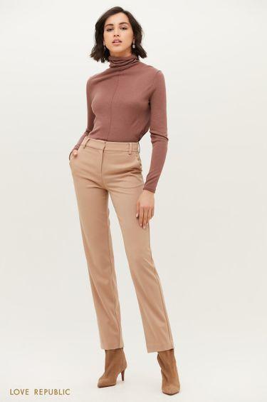 Бежевые брюки классического кроя с защипами 1152225725