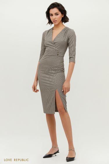Облегающее платье с декоративным поясом и разрезом на бедре 1152236561