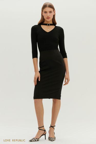 Классическая юбка-карандаш в черном оттенке 1152240221