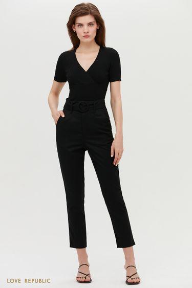Черный брюки классического кроя с поясом 1152244745