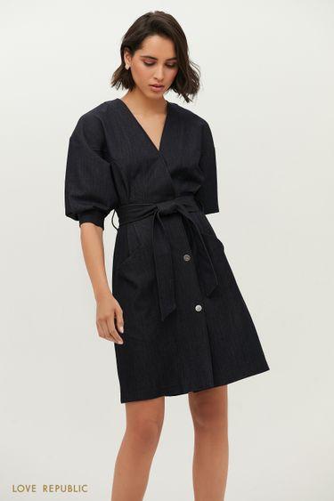 Темно-синее платье с запахом и рукавами-буфами 1152256503