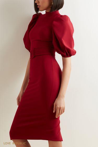 Платье-миди в ягодном оттенке 1152258575
