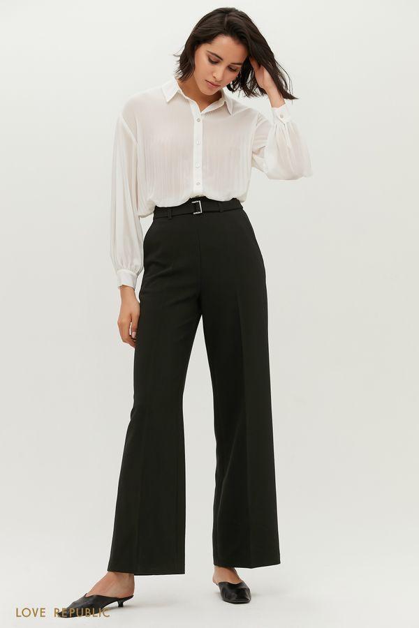 Широкие брюки молочного цвета с поясом 1152205709-60