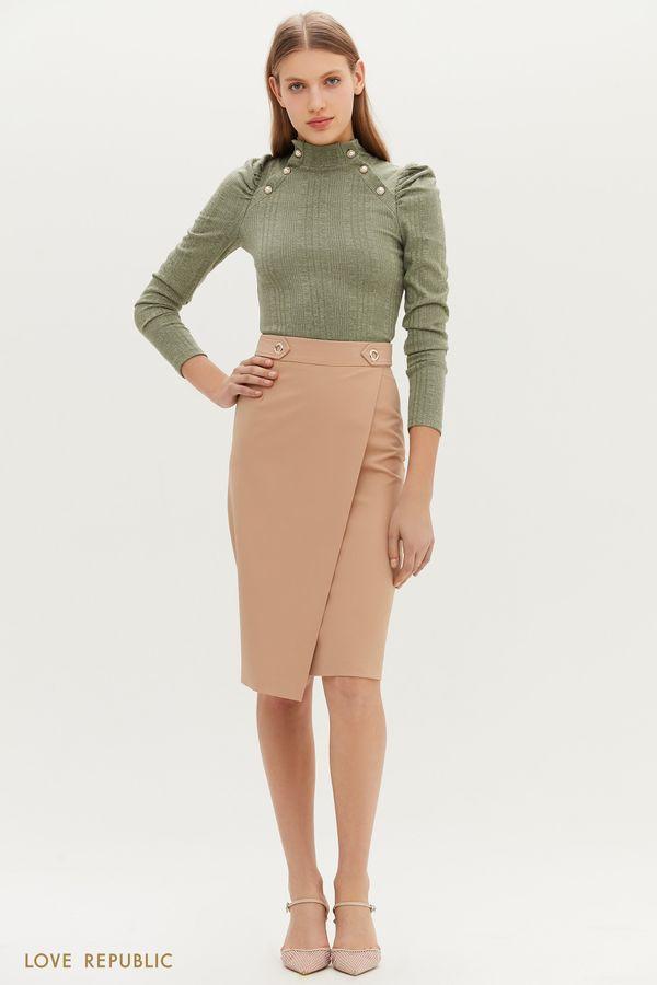 Лаконичная юбка-карандаш с запахом 1152216220-62