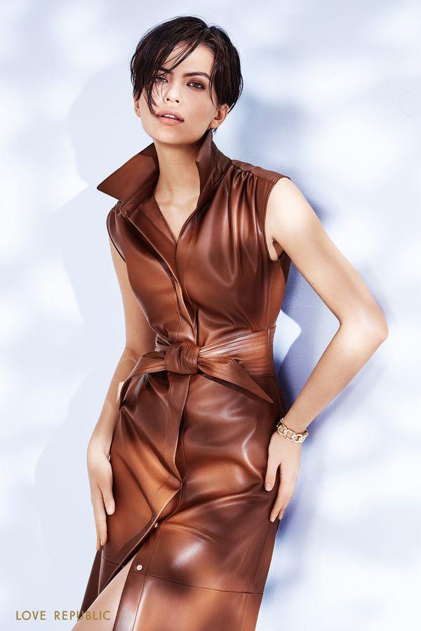 Платье миди из экокожи с акцентным поясом 1152230529-28