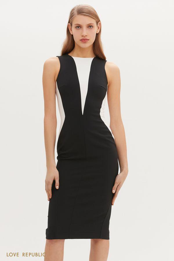 Чёрное платье с контрастными вставками 1152246570-50