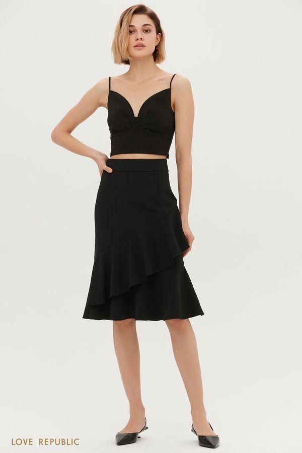 Чёрная юбка с диагональным декором 1152251225-50