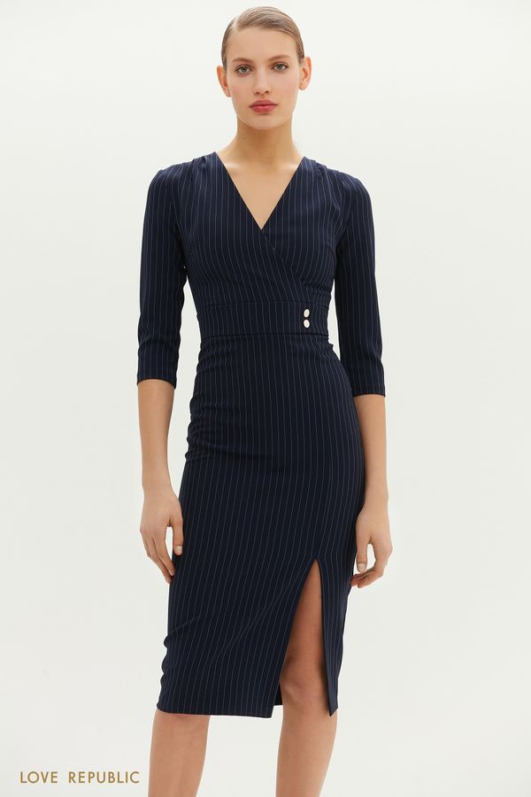 Платье миди в полоску с V-образным вырезом 1152255561-44