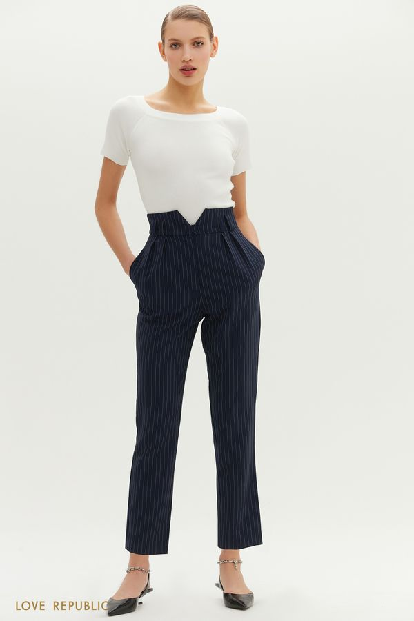 Синие брюки с защипами и фигурной кокеткой 1152255746-44