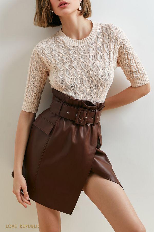 Кожаная юбка с запахом и акцентным ремнем 1152261215-20