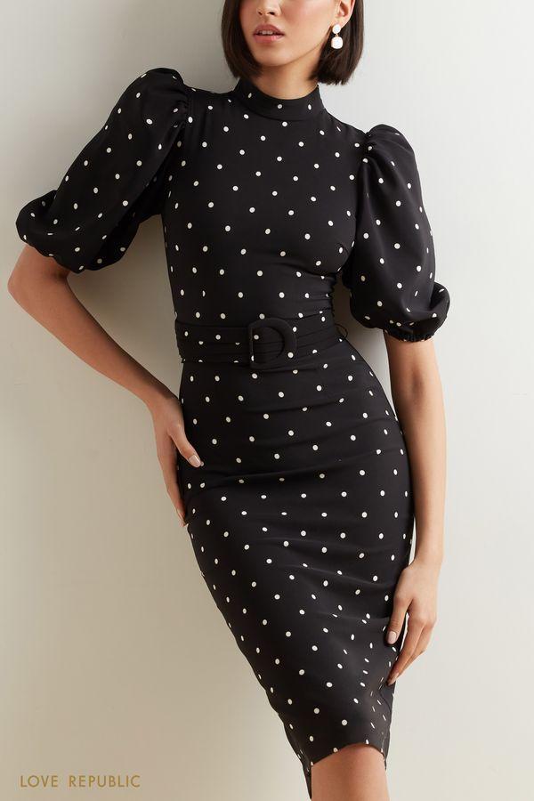 Черное платье в горошек с поясом 1152262575-53