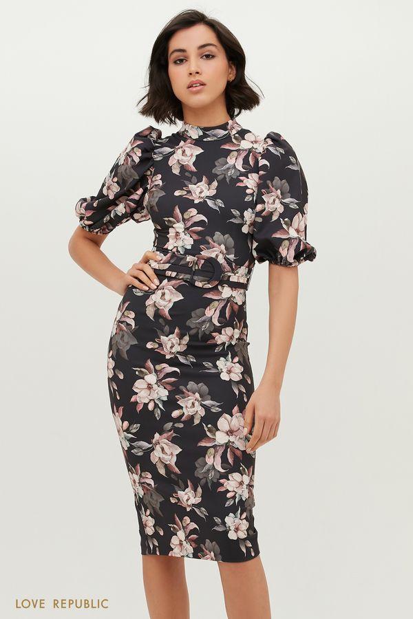 Платье миди с цветочным принтом 1152263575-55