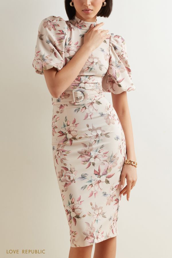 Платье-миди со стильным цветочным принтом 1152265575-65