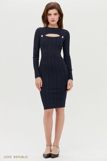 Платье с декоративным вырезом на груди 1152314551