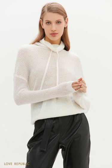 Молочный свитер с высоким воротником и карманом-кенгуру 1152316812