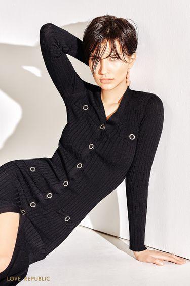 Облегающее трикотажное платье со свободным подолом 1152318573