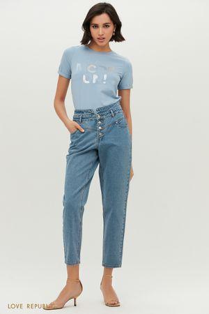 Голубые джинсы с высокой посадкой и фигурной кокеткой