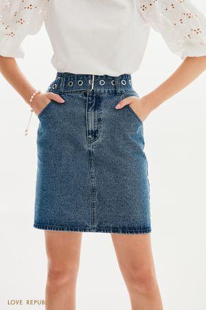Джинсовая юбка-мини с поясом