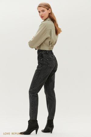 Серые джинсы с высокой посадкой и фигурной кокеткой