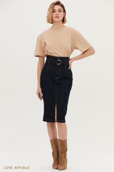 Джинсовая юбка-карандаш с ремнём 1152404204