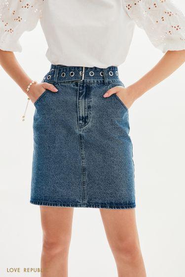 Джинсовая юбка-мини с поясом 1152422223