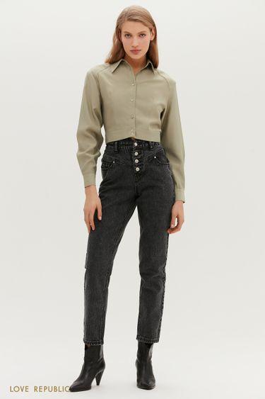 Серые джинсы с высокой посадкой и фигурной кокеткой 1152424738