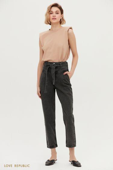 Чёрные джинсы с защипами 1152427740