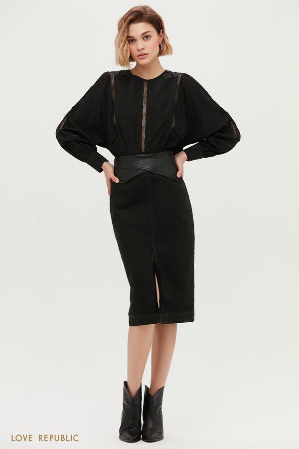 Джинсовая юбка с разрезом и фигурной кокеткой 1152408218-108