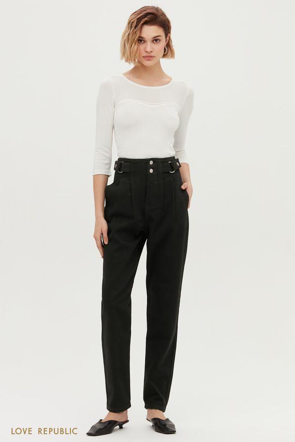 Классические джинсовые брюки с защипами 1152408708-108