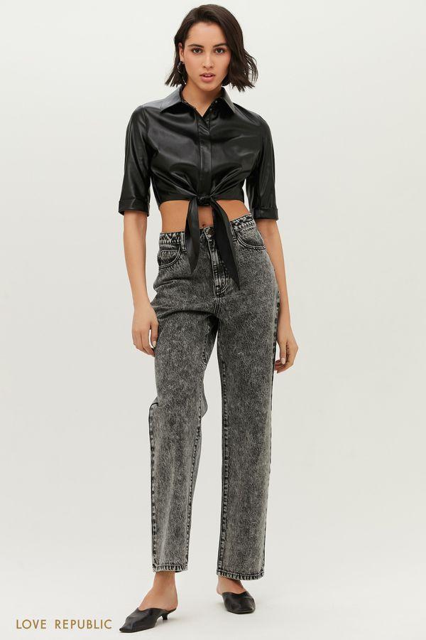 Прямые джинсы светло-серого оттенка 1152418730-107