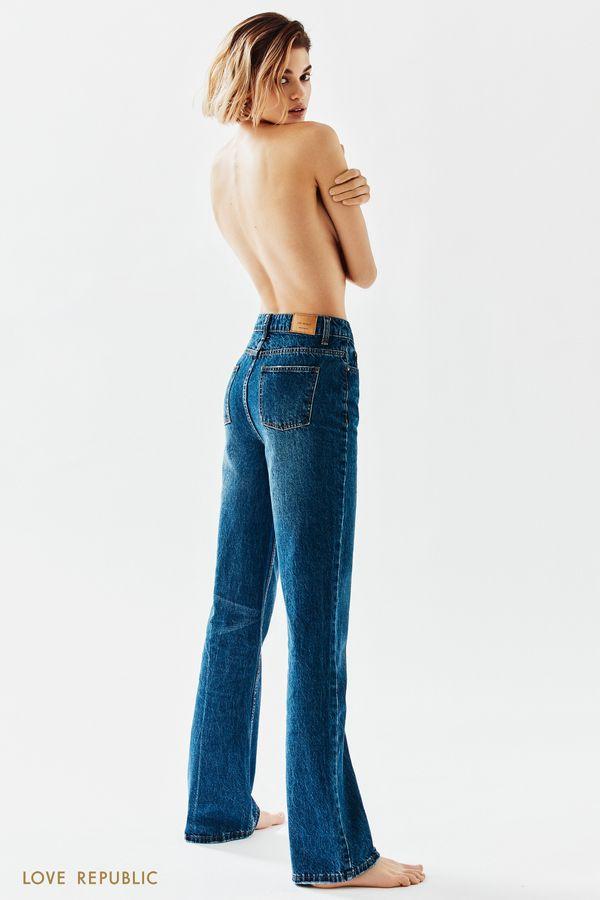 Синие джинсы-клёш с высокой посадкой 1152421735-103