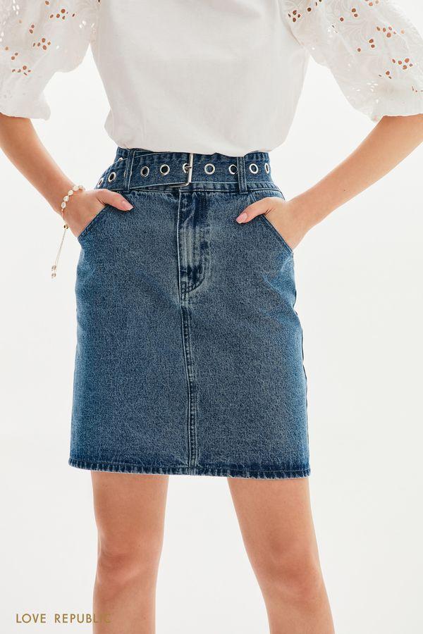 Джинсовая юбка мини с поясом 1152422223-103