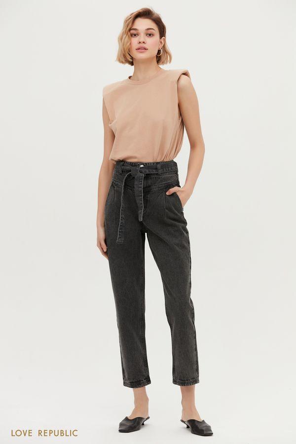 Чёрные джинсы с защипами 1152427740-108