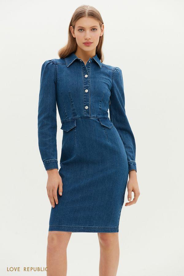 Джинсовое приталенное платье с отложным воротничком 1152429562-103