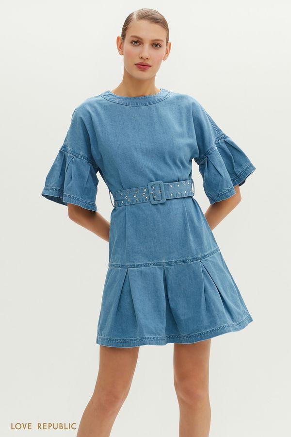 Голубое джинсовое платье с воланами и ремнем 1152430552-102