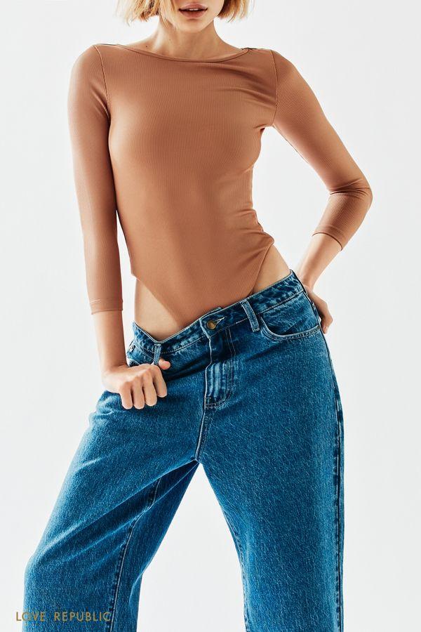 Голубые джинсы с высокой посадкой 1152431730-103