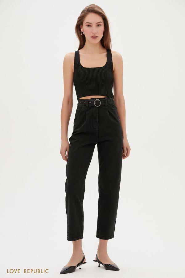 Чёрные укороченные джинсы с поясом 1152434741-109