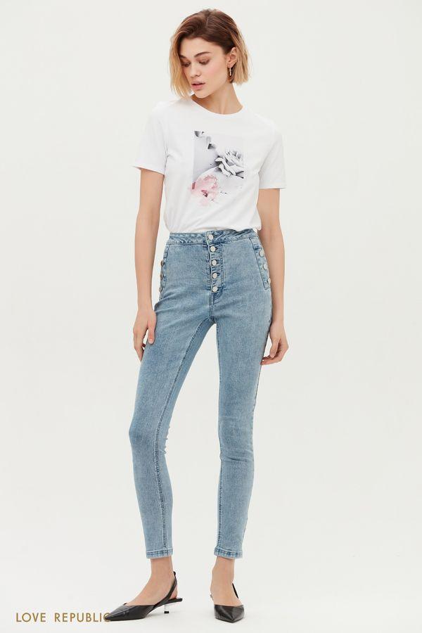 Голубые джинсы-скинни с завышенной талией 1152440734-102