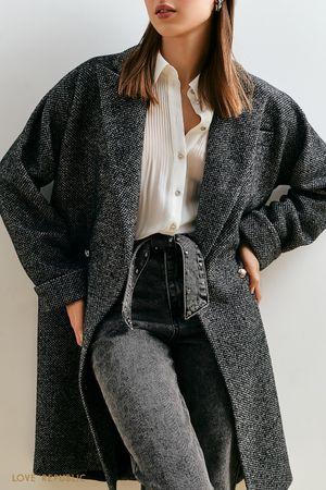 Свободное пальто с черно-белым узором