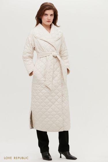 Стёганое пальто с поясом и объёмными лацканами 1152510109