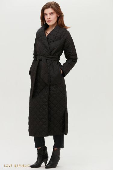 Чёрное стёганое пальто с поясом и объёмными лацканами 1152521109