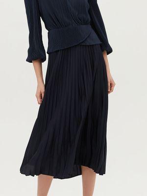 Плиссированная юбка тёмно-синего цвета