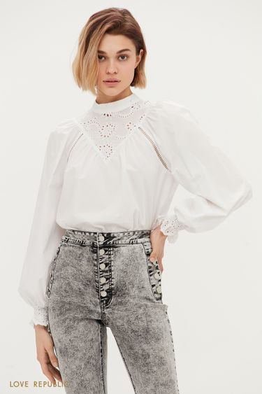 Хлопковая блузка с кружевными вставками 1153029321