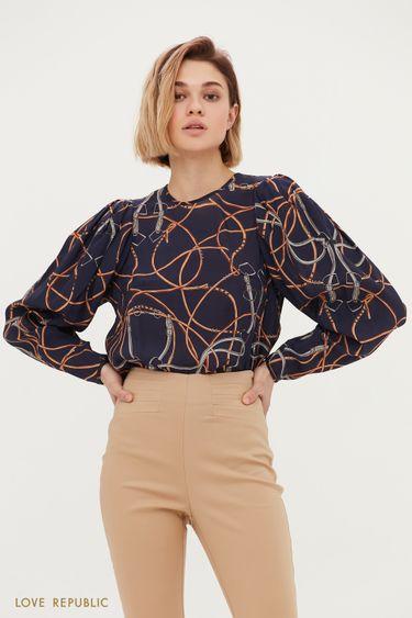 Блузка с авангардным принтом и объёмными рукавами 1153030322