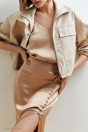 Бежевая юбка миди с акцентным разрезом на бедре 1153036214