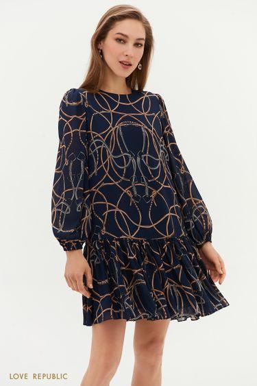 Платье-мини с авангардным принтом 1153037553