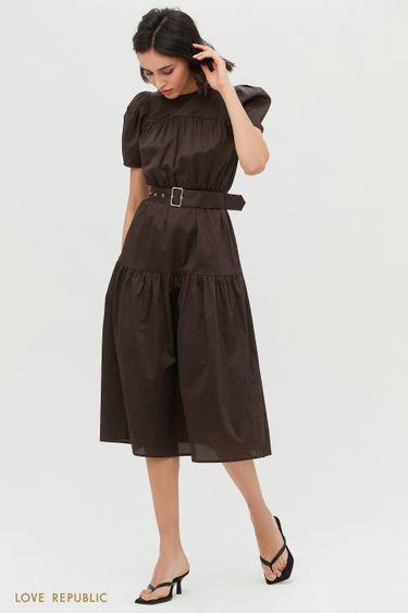 Приталенное платье-миди с коротким рукавом 1153039551