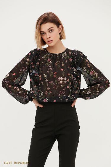 Чёрная блузка с цветочным принтом 1153042330