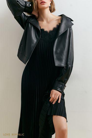 Плиссированное платье чёрного цвета с кружевом 1153046558